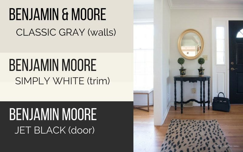 Light Grey Paint Color Swatches Clic Gray Walls Hallway Simply White Trim And Jet Black Door