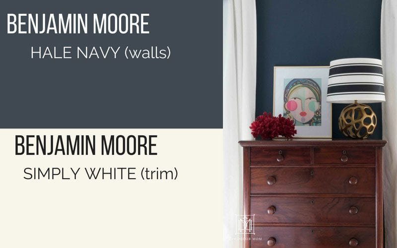 In Our Guest Room We Used Bm Hale Navy On The Walls And Benjamin Moore Simply White For Trim It Is A South West Facing Which Gets Ton Of