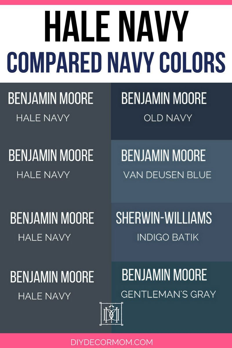 Benjamin Moore Hale Navy Paint Color Compared To Por Blue