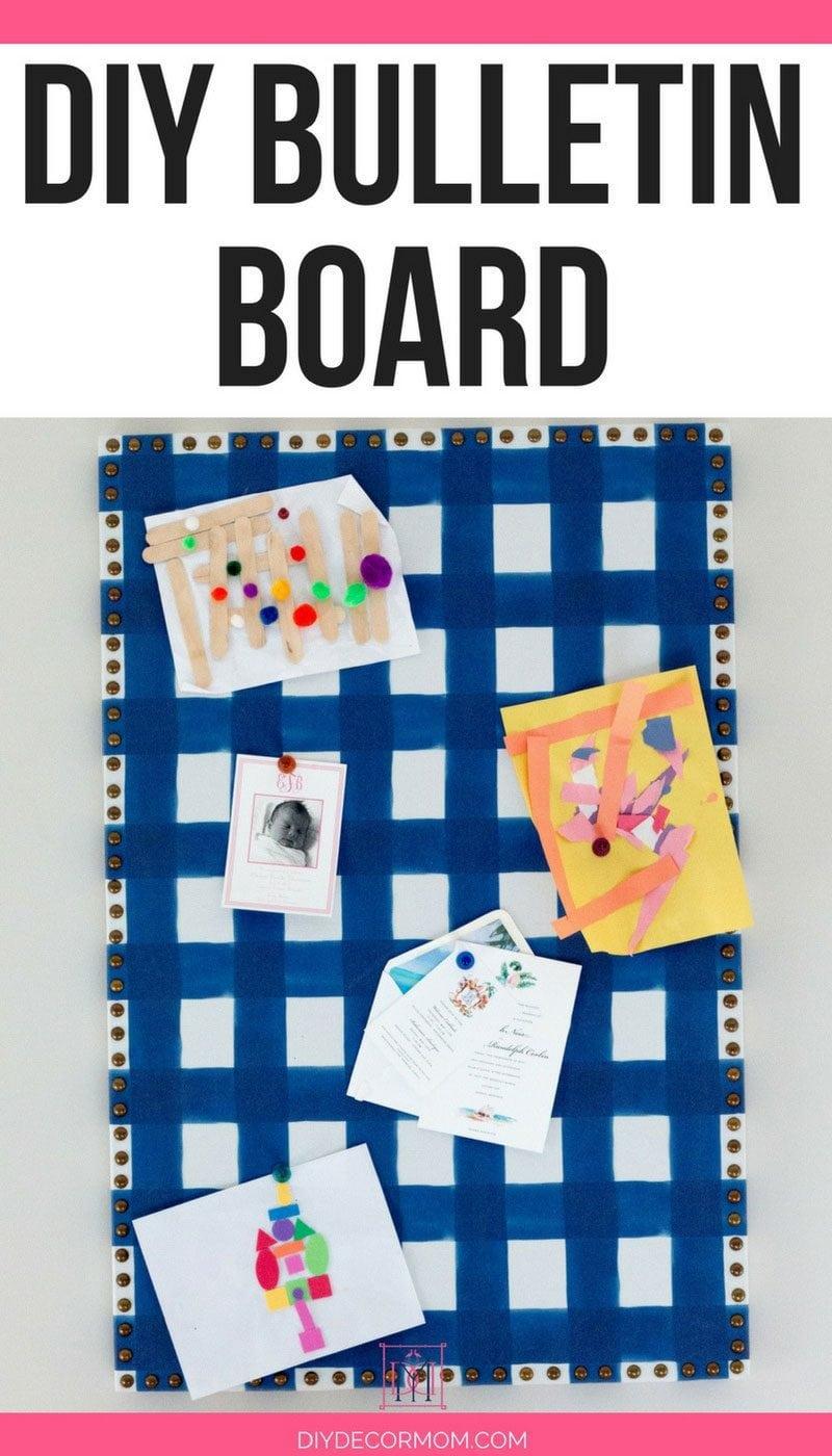 diy bulletin board tutorial blue buffalo check fabric nailhead trim with kids art