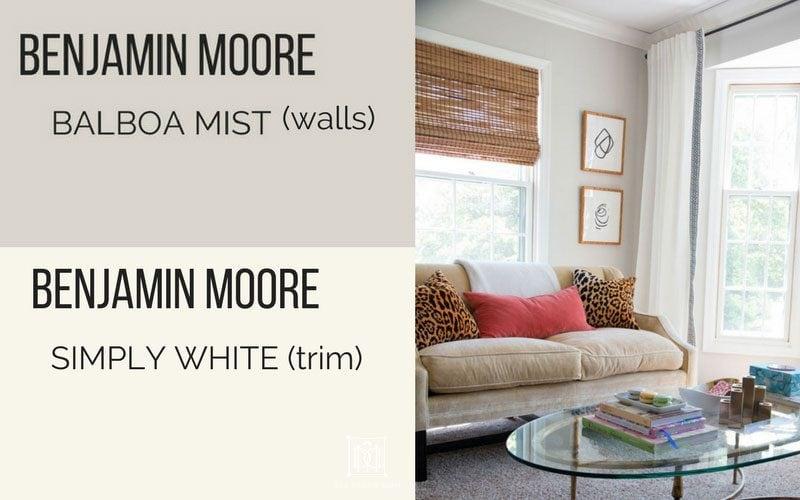 BM Balboa Mist and BM Simply White walls living room