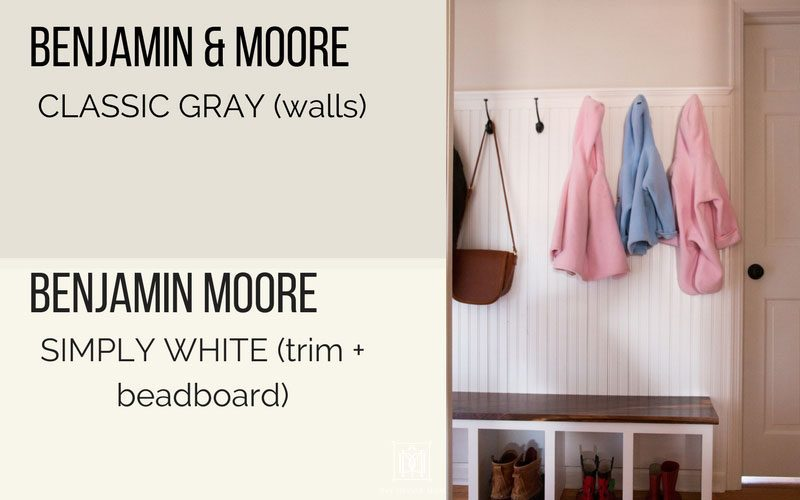 benjamin moore classic gray on walls in hallway mudroom and benjamin moore simply white trim and beadboard