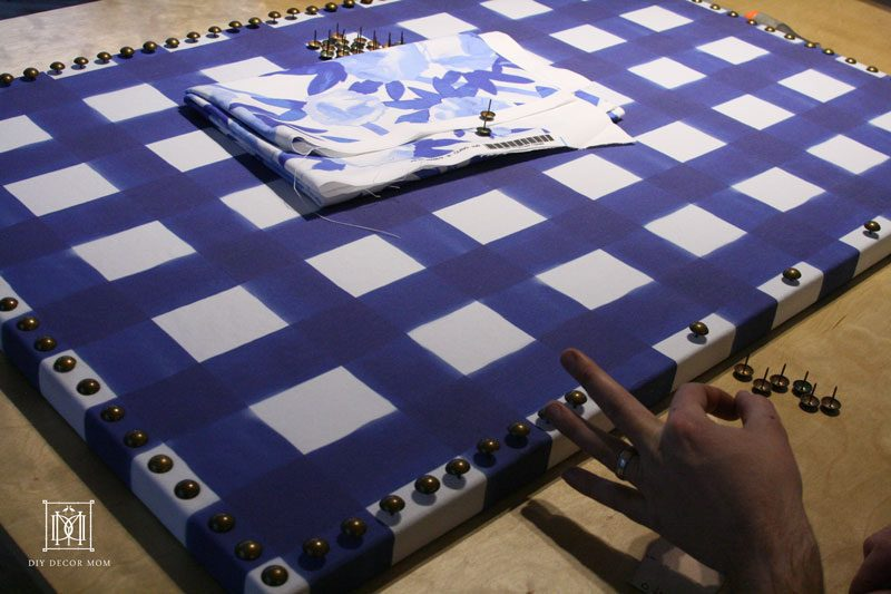 easy DIY bulletin board with fabric and nailhead trim
