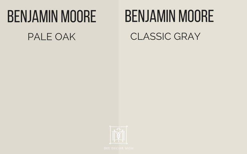 benjamin moore pale oak vs. benjamin moore classic gray- two of the best gray paint colors