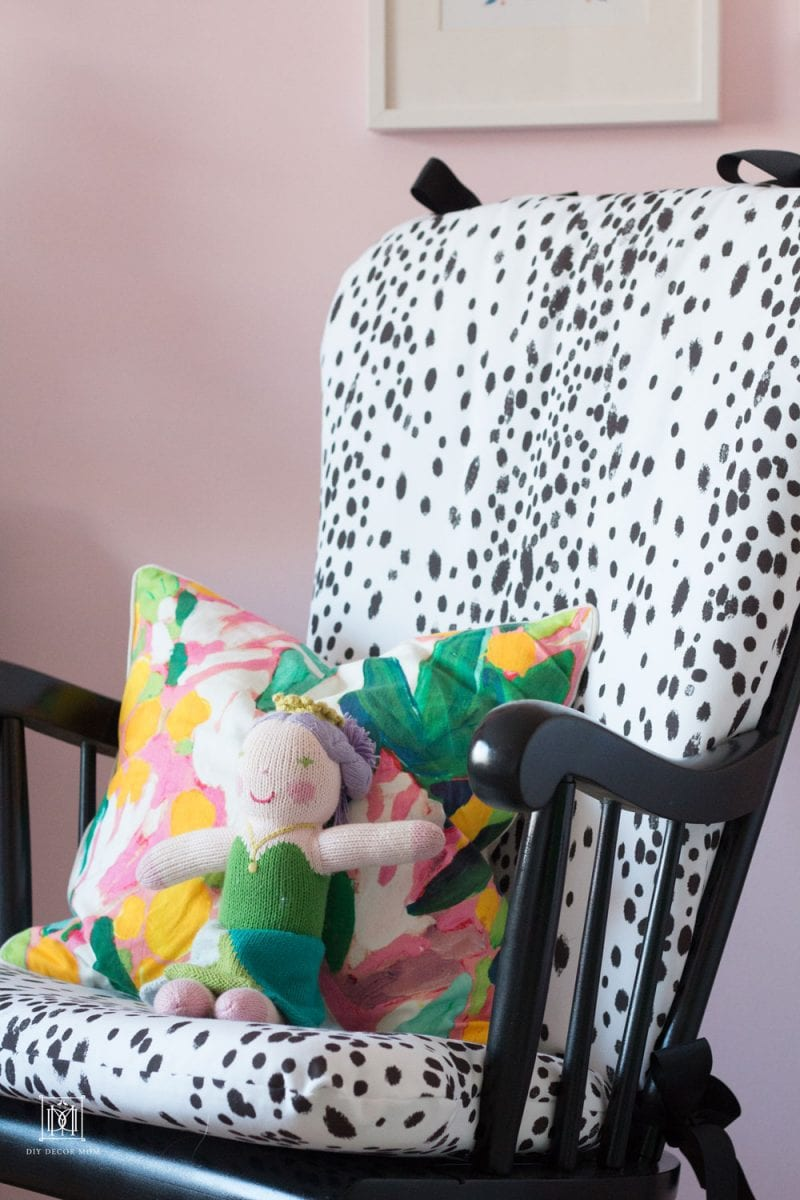 sisters shared girls room toddler and baby rocking chair with diy upholstery in light pink wall color room