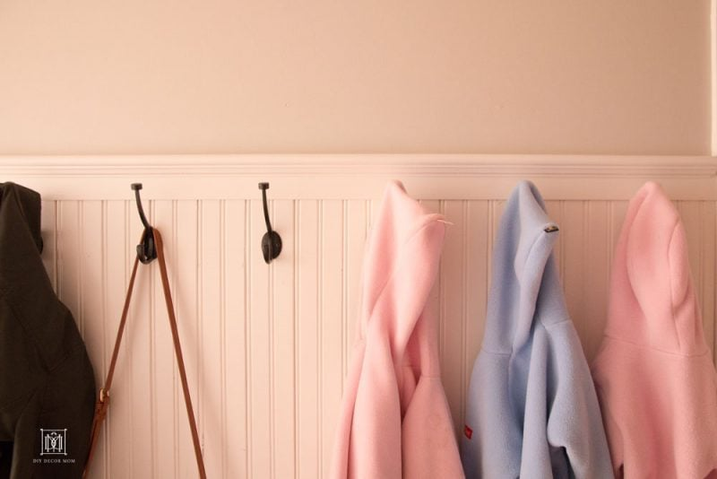small mudroom entryway coat hooks and DIY beadboard
