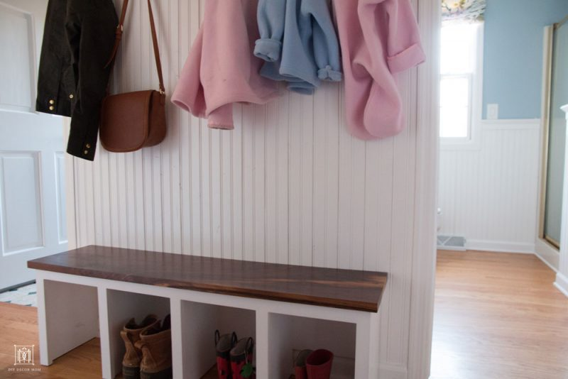small mudroom bench DIY for narrow hallway with coat hooks and shoe storage cubbies