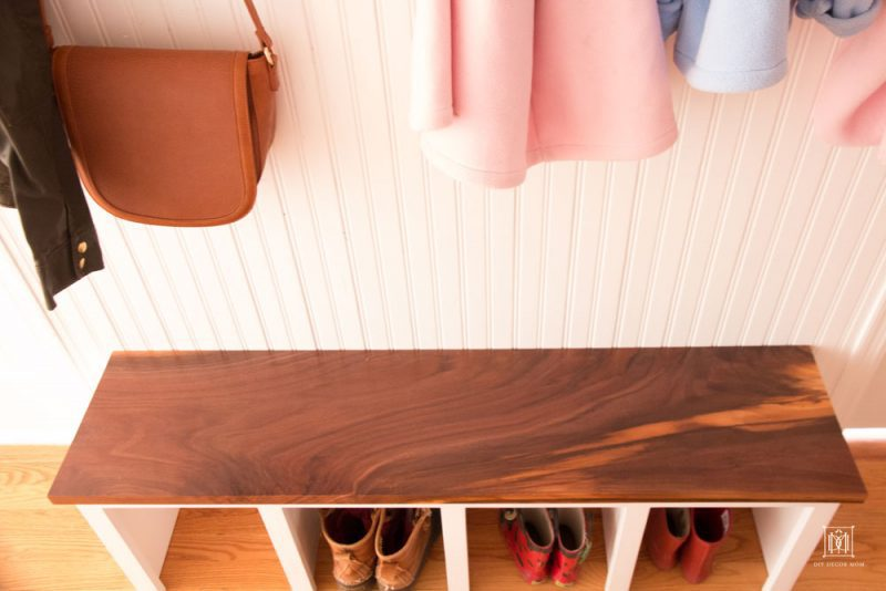 diy small mudroom entryway bench with wood top and beadboard cubbies for shoe storage