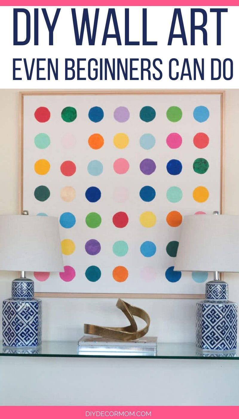 DIY Wall Art - Damien Hirst inspired DIY wall canvas modern art acrylic paint blue and white lamps and glass console table