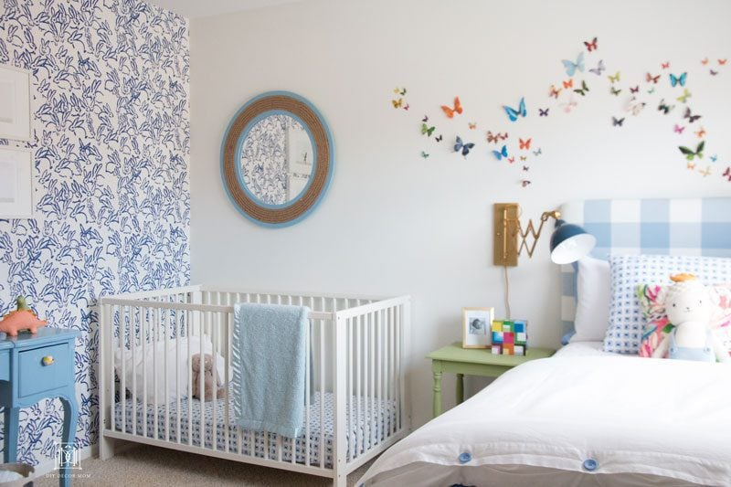 baby boy accent walls- love this baby boy room decor with blue and white wallpaper butterfly wall decorations in boy nursery