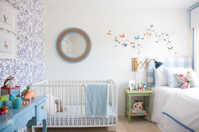 Baby boy room decor-Hunt Slonem Bunnies nursery accent wall and white paint in boy nursery
