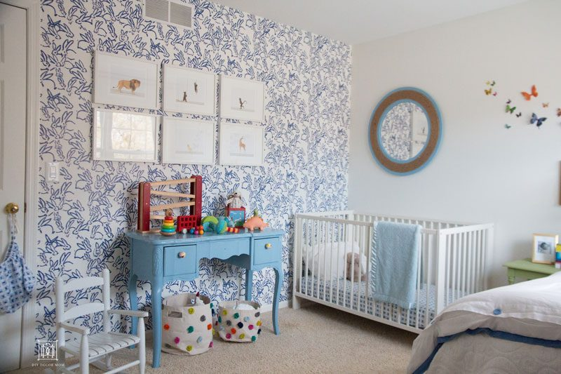 nursery decor boy- wallpaper accent wall and blue bedding