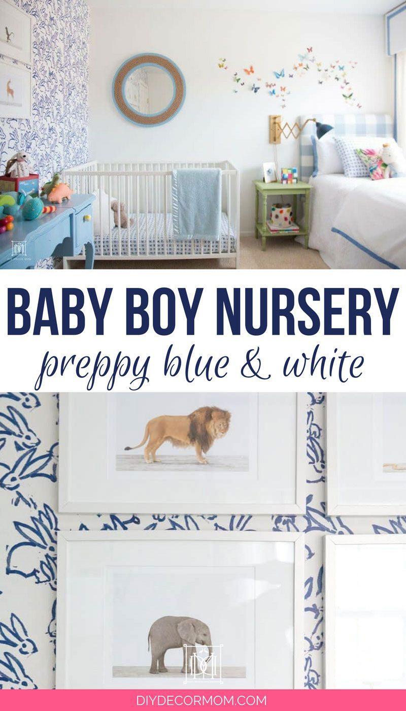 baby boy room decor- blue and white baby boy nursery decor