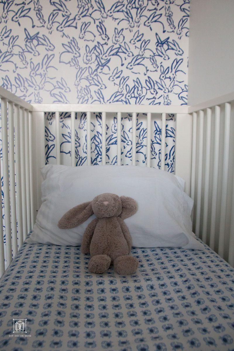 baby boy room wallpaper and crib