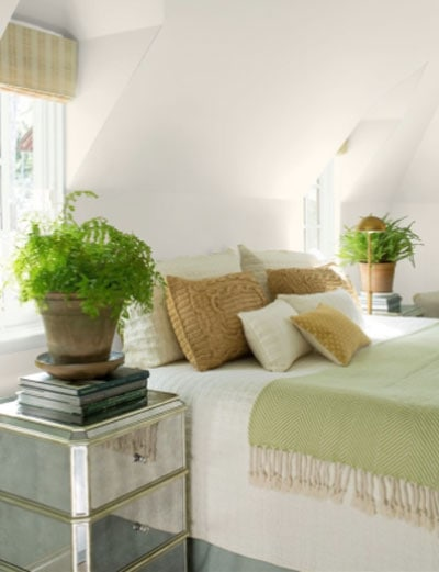 attic bedroom with balboa mist on the walls
