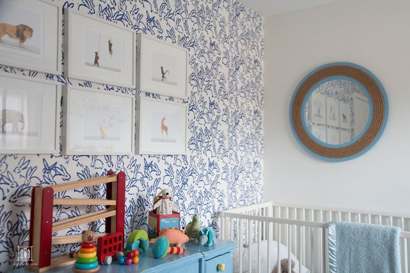 blue wallpaper in baby boy room- cute baby boy room decor ideas- Hunt Slonem bunnies