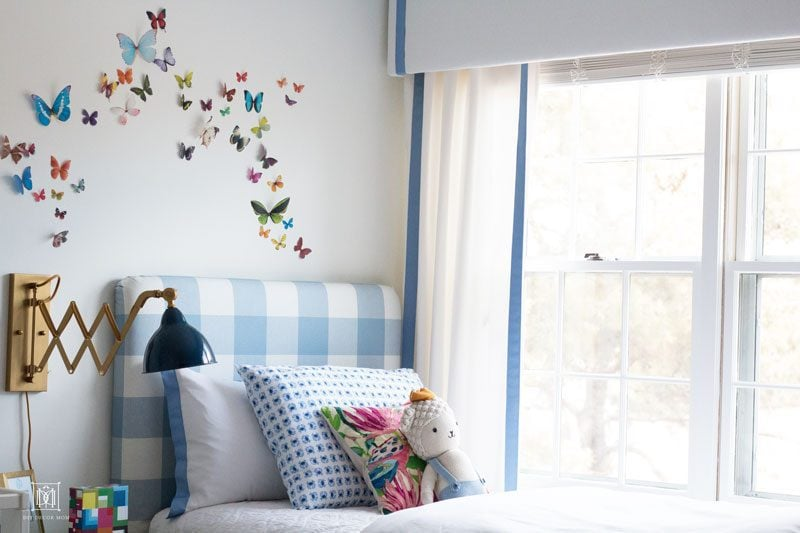 white window valance box with blue grosgrain curtains in bedroom & Window Valance Box: How to Make a DIY Valance Box Easily