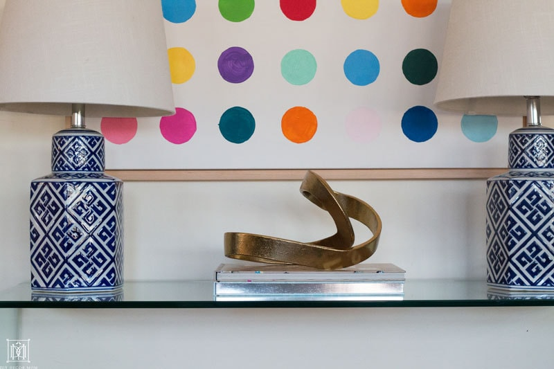 Damien hirst diy wall art with glass console table