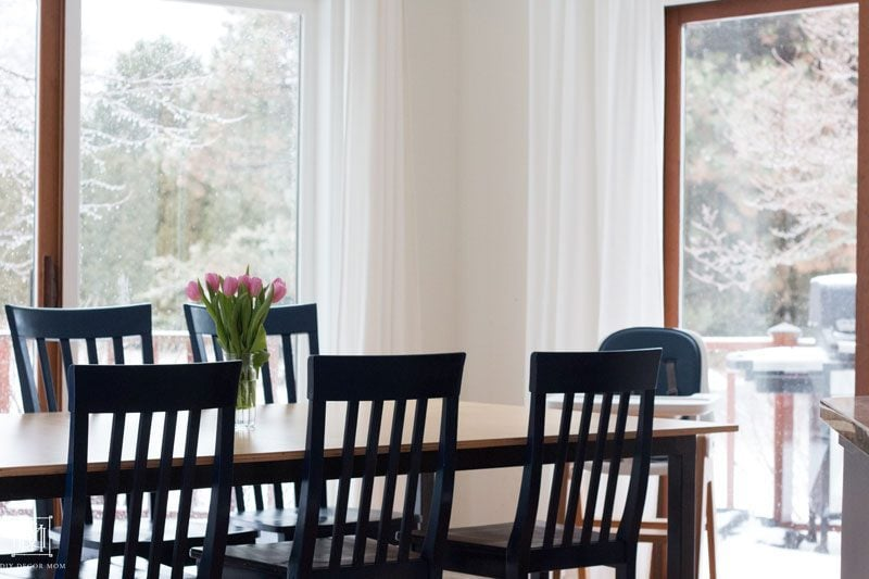 stylish modern high chair that's easy to clean in breakfast area