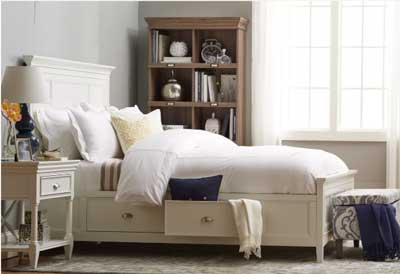 gray bedroom with traditional bed