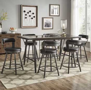 industrial dining room with stools and light gray painted walls