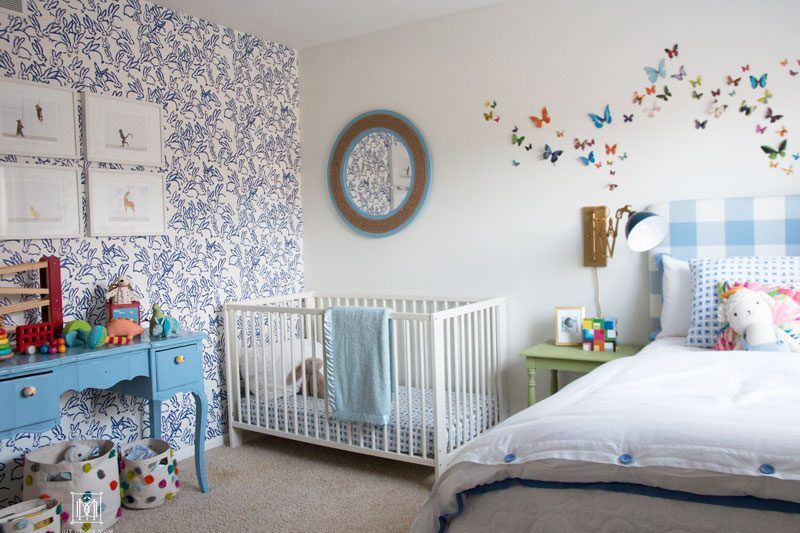 baby boy room decor blue and white accent wall