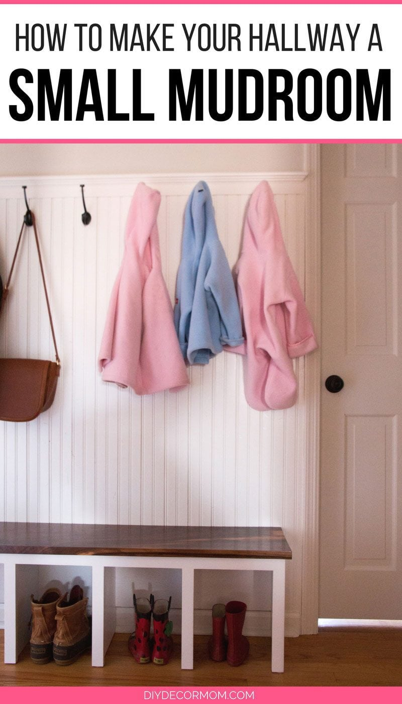 small mudroom ideas--see this narrow hallway mudroom makeover with a simple mudroom bench coat hooks and boots with white beadboard