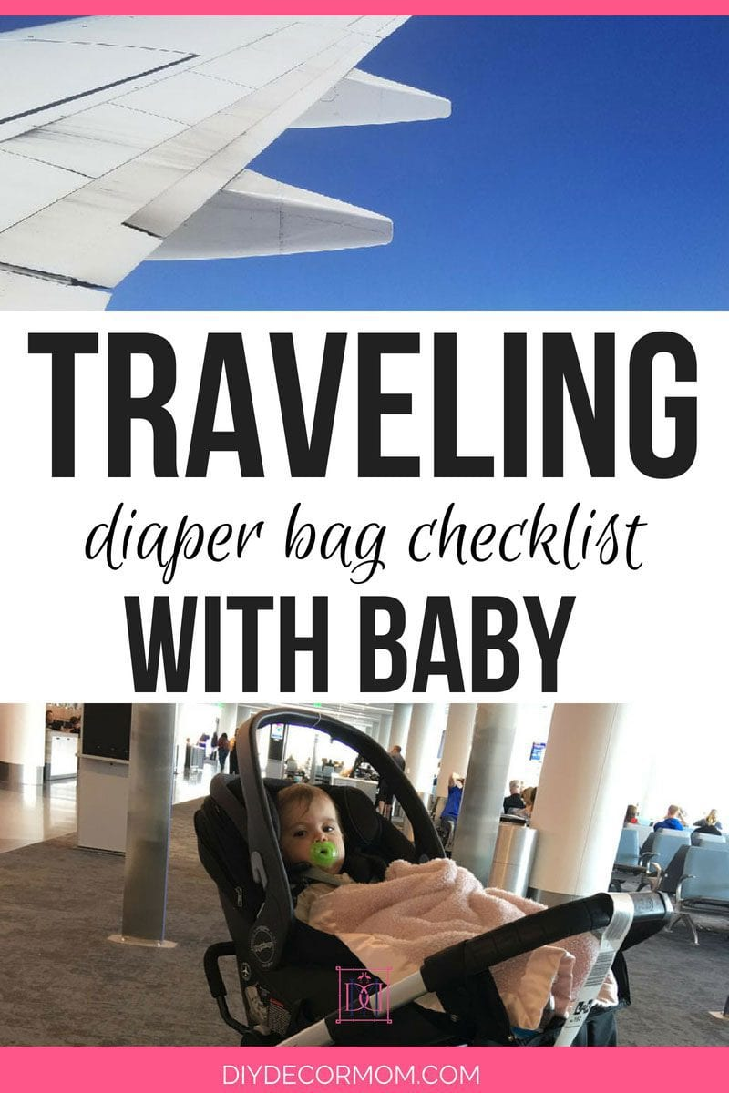 traveling with baby tips picture of airplane wing and baby in stroller collage