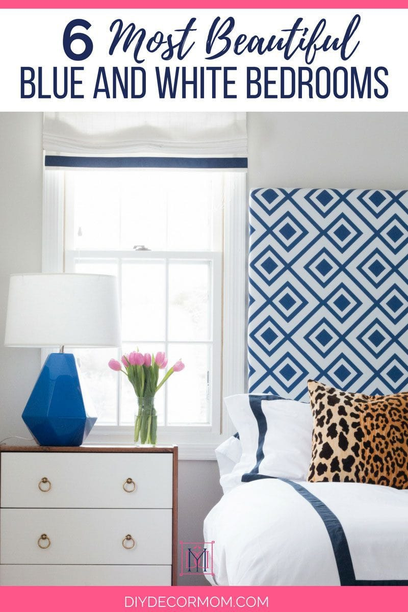 blue and white bedroom with blue and white lamp blue and white headboard and blue and white bedding
