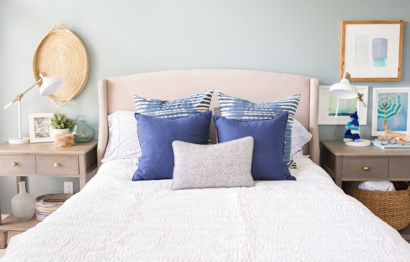 blue and white master bedroom with blue walls and blue and white bedding by making home base