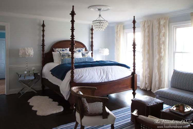 blue and white master bedroom by heathered nest