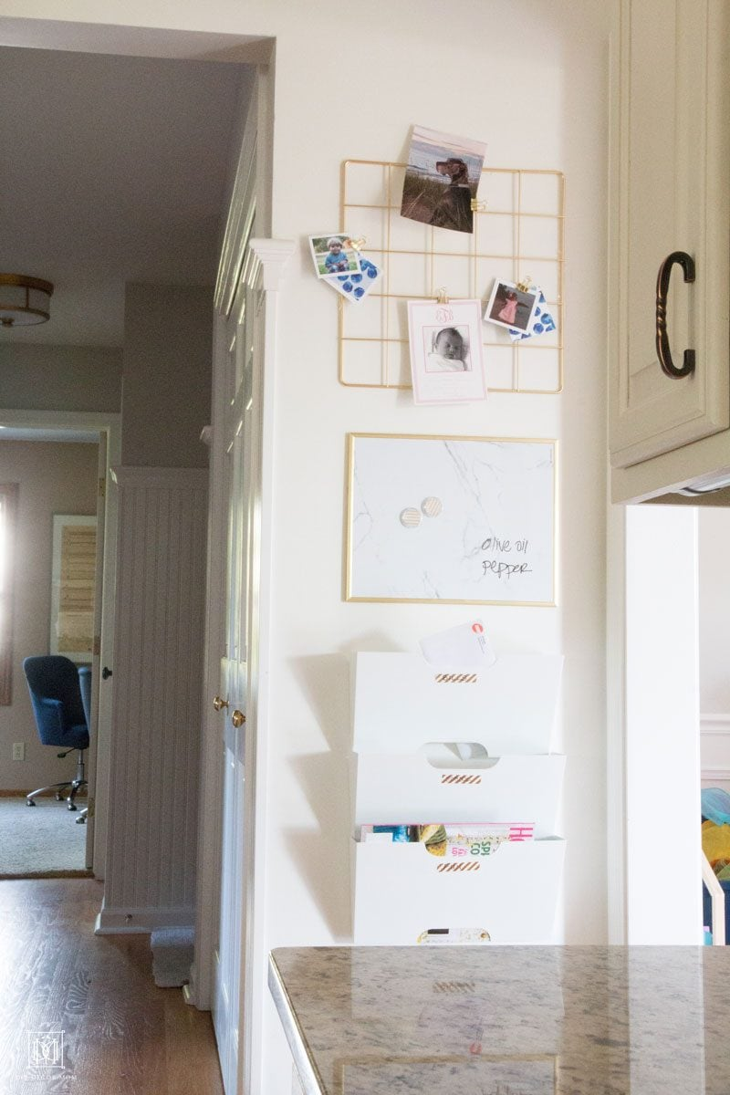 file folders white board mounted on wall for command center ideas in kitchen
