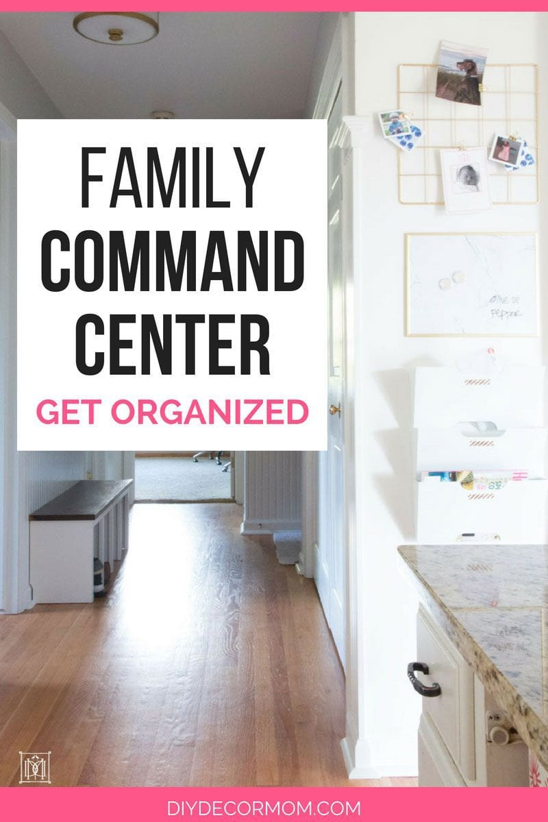 family command center on a narrow wall in kitchen hallway