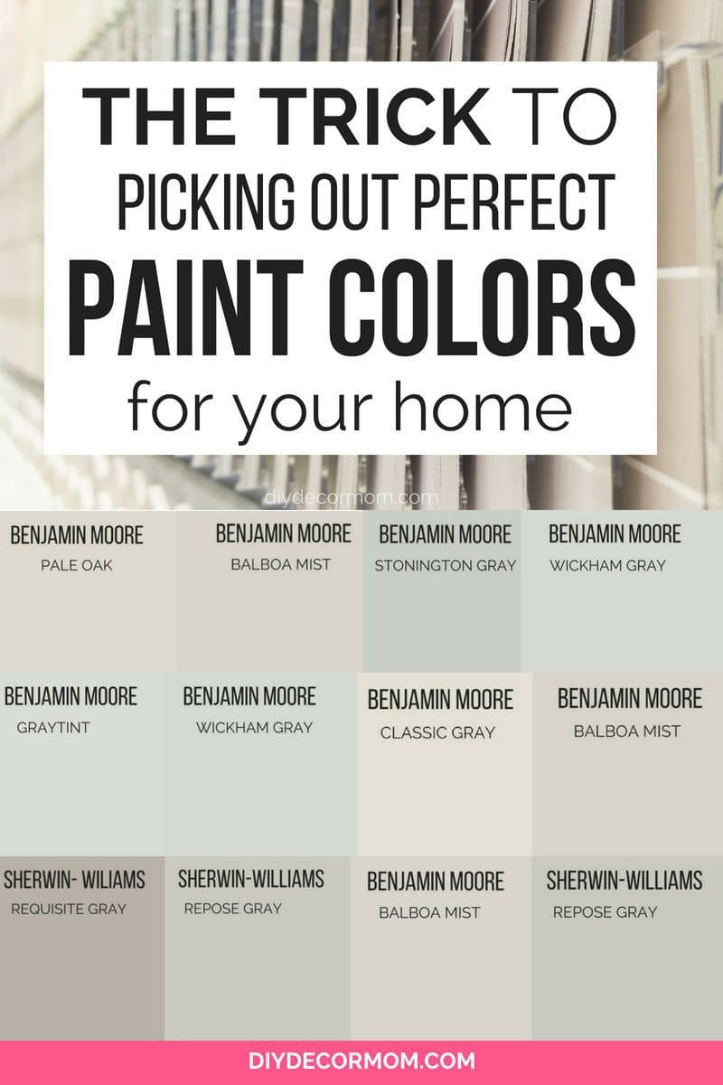 neutral paint color chips in collage with light gray neutral paints