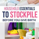 household essentials you need to buy before you give birth picture of pregnant woman and pantry with toilet paper