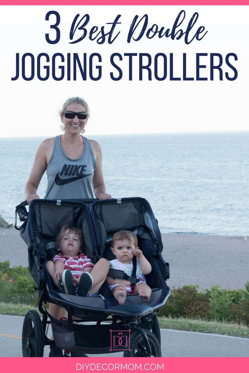 mom with double stroller running with baby and toddler along beach- see the best double jogging stroller here