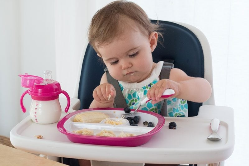 baby led weaning with silverware and plates and sippy cup with baby in highchair