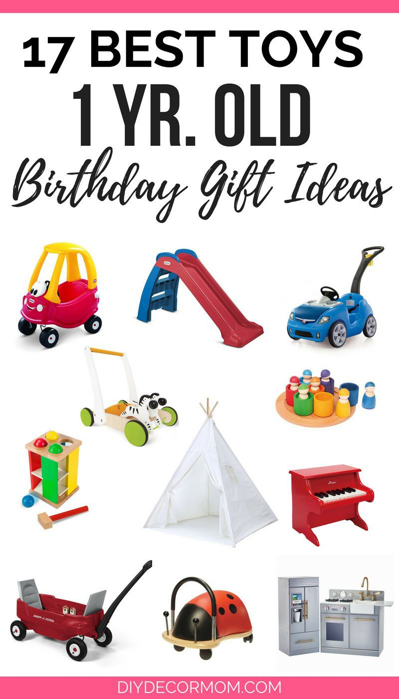 best toys for 1 yr old picture collage including birthday gift ideas for one year olds