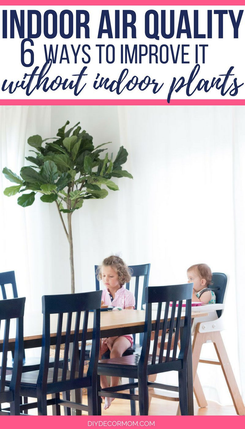 how to improve indoor air quality picture of girls sitting at kitchen table with faux fiddle leaf fig