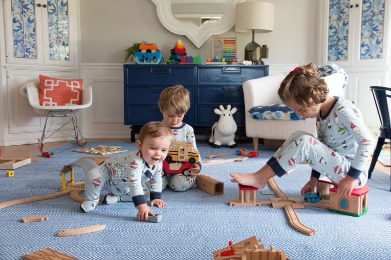 kids playing toys in playroom- screen free kids activities