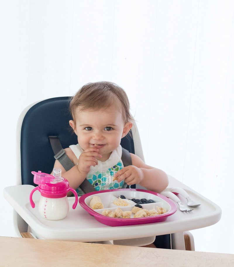 baby baby led weaning with real food in high chair