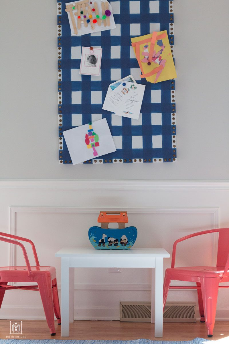 playroom with buffalo check bulletin board and air vent improving indoor air quality indoors