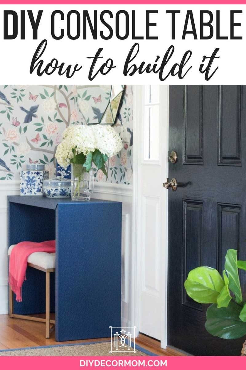fabric wrapped DIY console table in front hall entryway with chinoiserie wallpaper