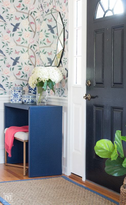 blue ostrich grasscloth diy console table