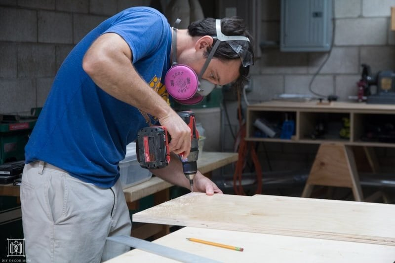 making a diy console table drilling holes for diy console table