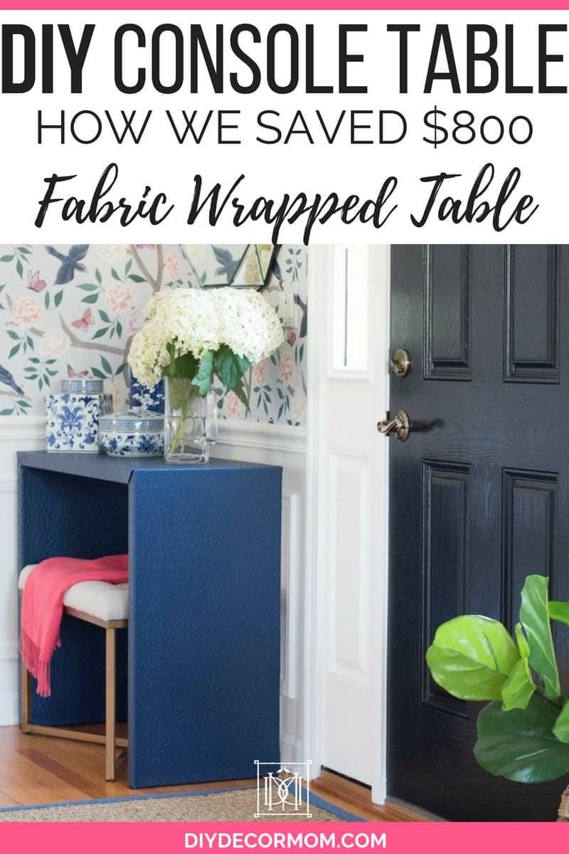 fabric wrapped diy console table styled in front hall with chinoiserie wallpaper