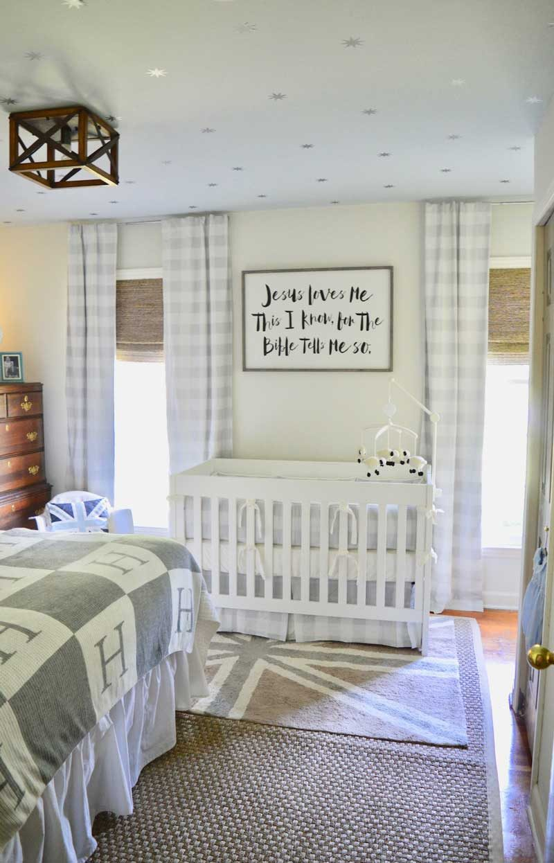 neutral gray and white boy nursery with star ceiling from elise and hope blog