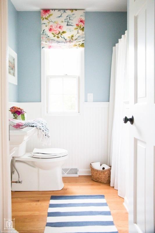 blue gray bathroom using FB parma gray with white beadboard