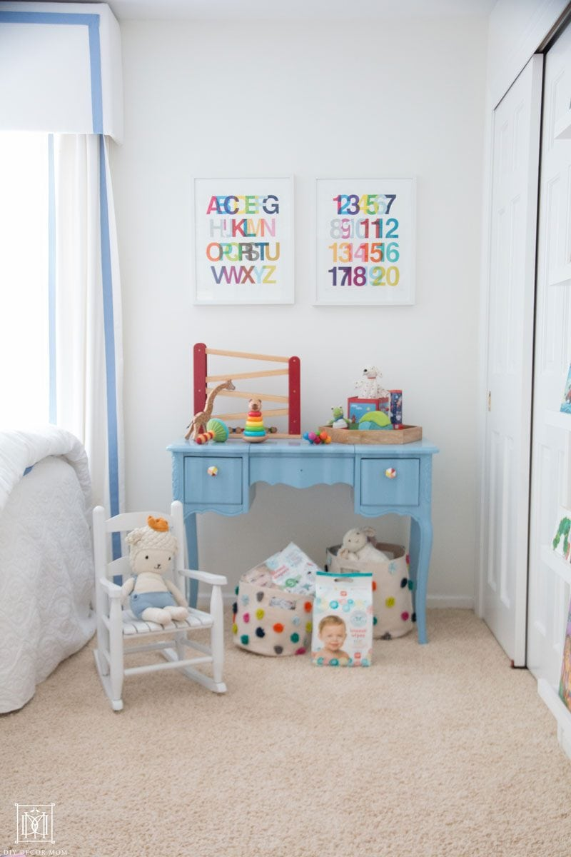 blue and white nursery for second baby