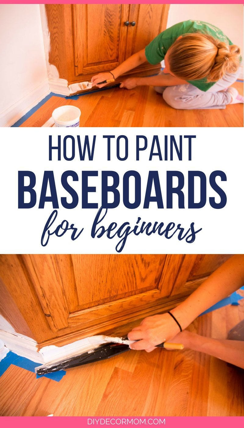 how to paint baseboards- picture of woman painting baseboards